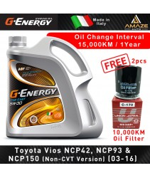G-Energy Service bundle for Toyota Vios NCP42-NCP150 (03-Oct16) 5W30 Fully Synthetic(Made in Italy) - Last 15,000KM