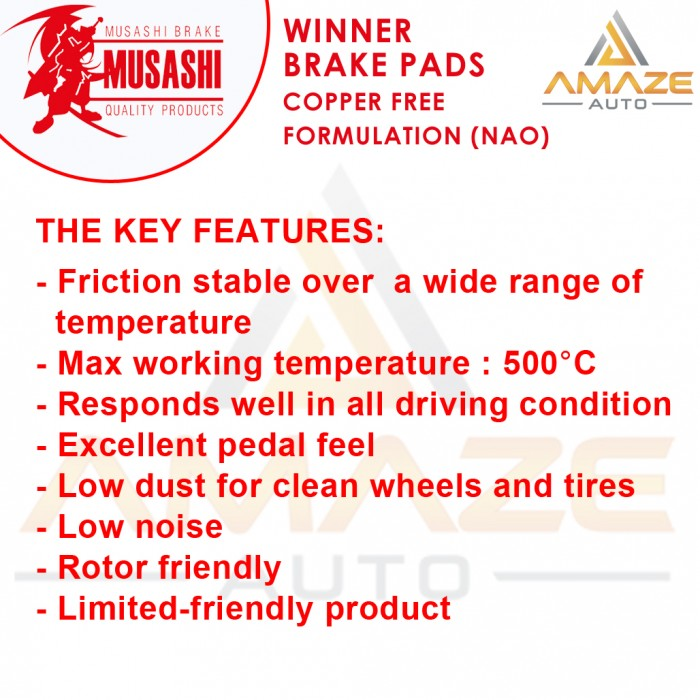 Musashi Winner Brake Pad (Copper Free NAO) for Perodua