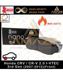 Musashi (Compact) Nano Infinity Brake Pad for Honda CRV / CR-V 2.0 I-VTEC 3rd Gen (2007 - 2012) (Front) - Amaze Autoparts
