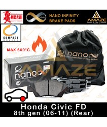 Compact Nano Infinity Brake Pad for Honda Civic I-VTEC FD (2006-2011) (Rear) - Amaze Autoparts