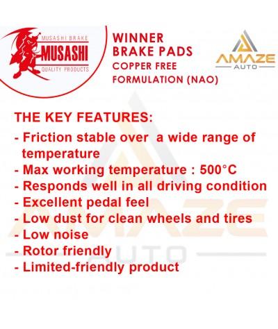 Musashi Winner Brake Pad (Copper Free NAO) for Perodua Alza (2009 - 2013) (Front)