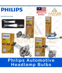 Genuine Philips Automotive headlamp bulbs (30% more brightness) for H1, H3, H4, H7  (60/55w)