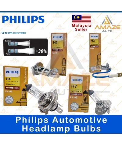 Genuine Philips Automotive headlamp bulbs (30% more brightness) for H1, H3, H4, H7  (60/55w)