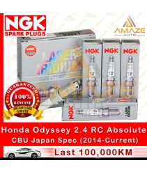 NGK Laser Iridium Spark Plug for Honda Odyssey RC 2.4 Absolute I-Vtec - CBU Japan Spec with Auto Start/Stop (100,000KM Usage Life High Performance Spark Plug)