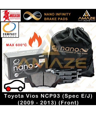Compact Nano Infinity Brake Pad for Toyota Vios E / J 2nd Gen (NCP93) (2009 - 2013) (Front) - Amaze Autoparts