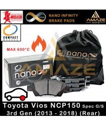 Compact Nano Infinity Brake Pad for Toyota Vios 3rd Gen Spec G/S (NCP150) (2013 - 2018) (Rear)