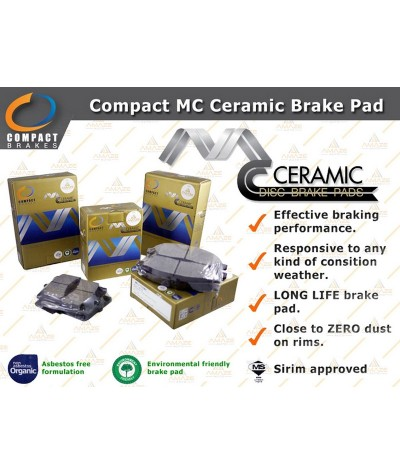 Compact MC Ceramic Brake Pad for Perodua Bezza (2016-Current) (Front)
