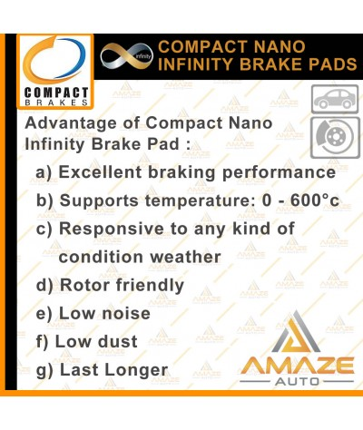 Compact Nano Infinity Brake Pad for Toyota Vios 3rd Gen E/J (NCP150) (13-16)(F)