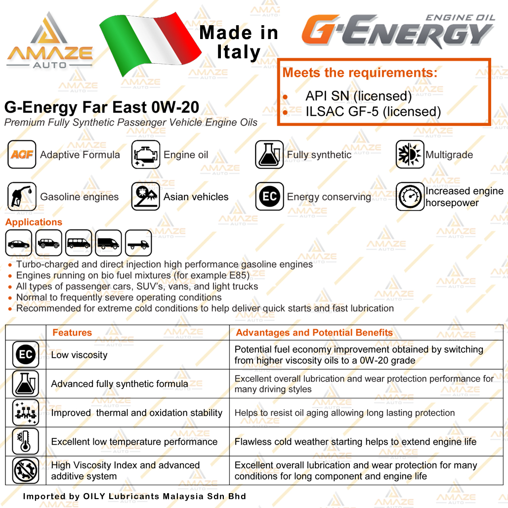 G-Energy Far East 0W20 Fully-Synthetic Engine Oil (1L) SN (Made in Italy) - Energy Conserving / Minyak Pelincir Enjin 0W20