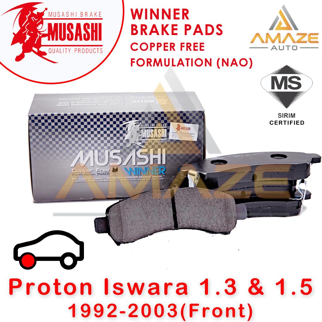 Musashi Winner Brake Pad (Copper Free NAO) for Proton Iswara 1.3 & 1.5 (Front)