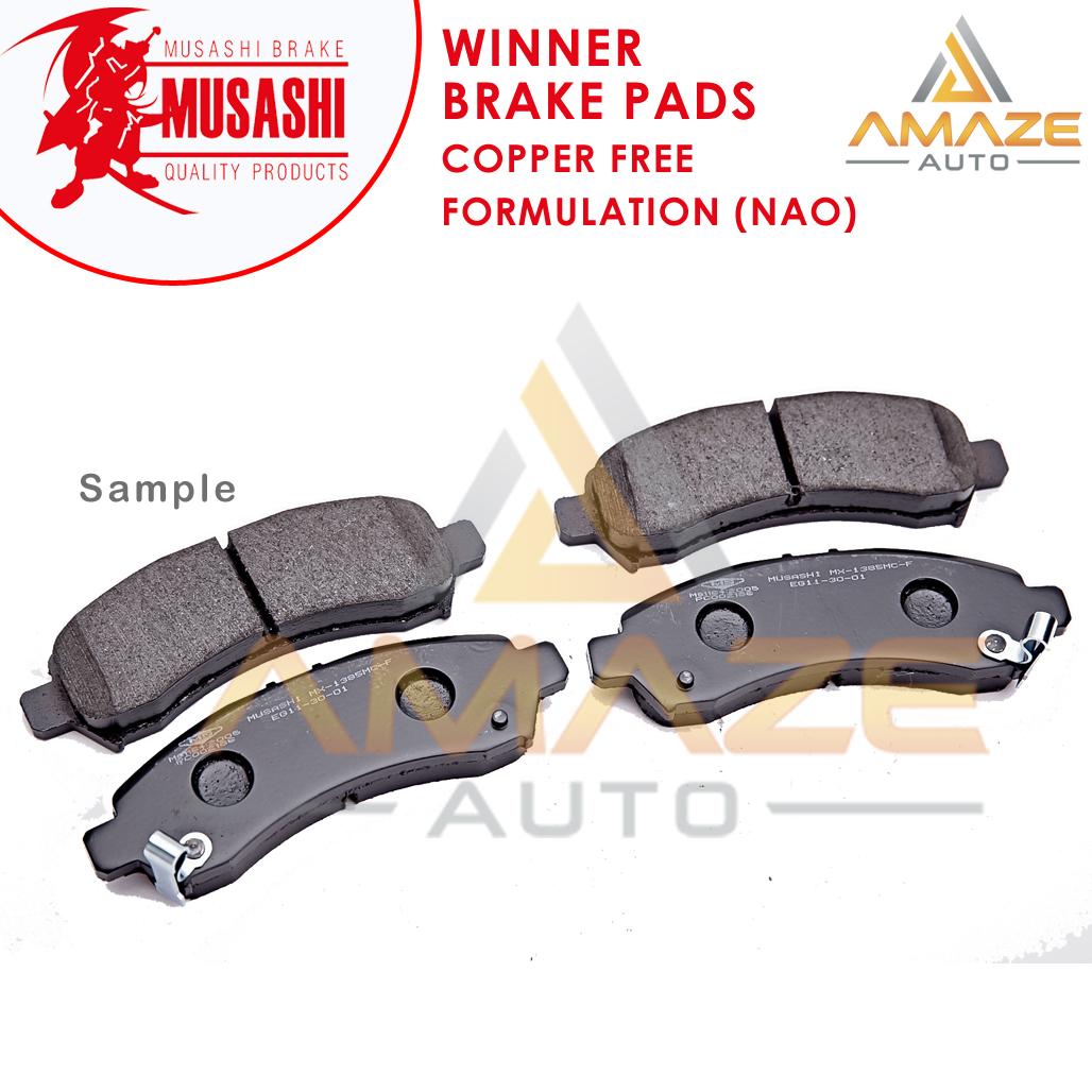 Musashi Winner Brake Pad (Copper Free NAO) for Proton Satria 1.3 & 1.5 (Front)