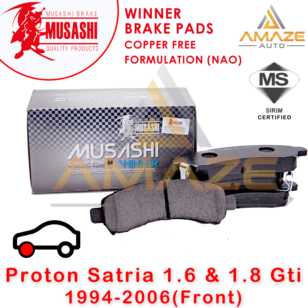 Musashi Winner Brake Pad (Copper Free NAO) for Proton Satria 1.6 & 1.8 GTi (1994-2006) (Front)