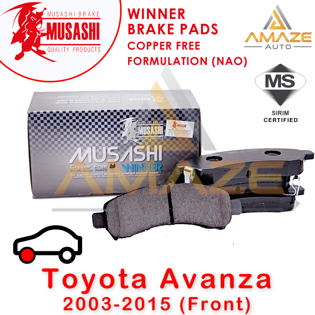 Musashi Winner Brake Pad (Copper Free NAO) for Toyota Avanza (2003-2015) (Front)