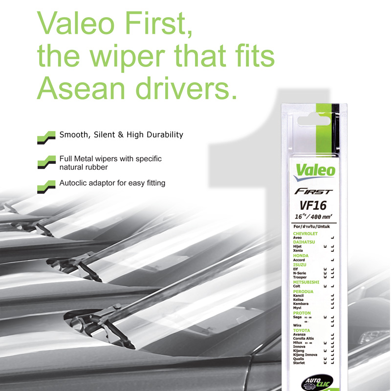 Valeo First Wiper Blade for Honda Accord i-VTEC - 9th Gen (2013 - Current) (2pcs/set)